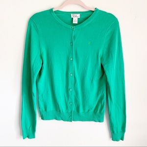 Lilly Pulitzer Kelly Green Button Up Cardigan M